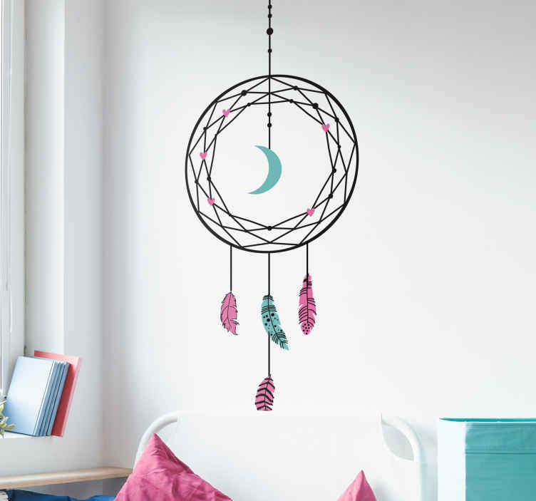 TenStickers. Geometric dream catcher object wall decal. An original ornamental object wall sticker with the design of ornamental colorful features. Easy to apply and available in any required size.