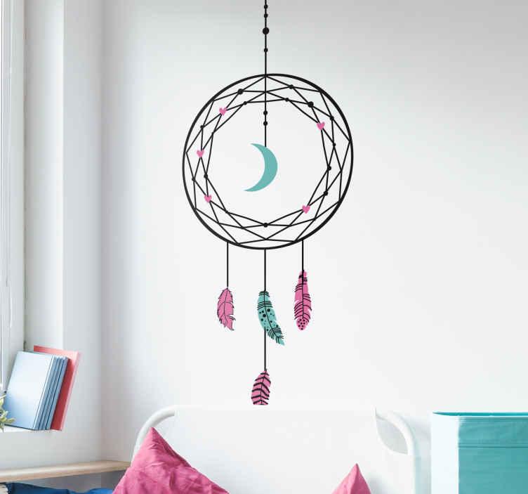 TenVinilo. Vinilo pared  Atrapasueños geométrico. Original vinilo con el diseño de un atrapasueños en tonos azul turquesa y rosa ideal para colocar al lado de tu dormitorio. Precios imbatibles.