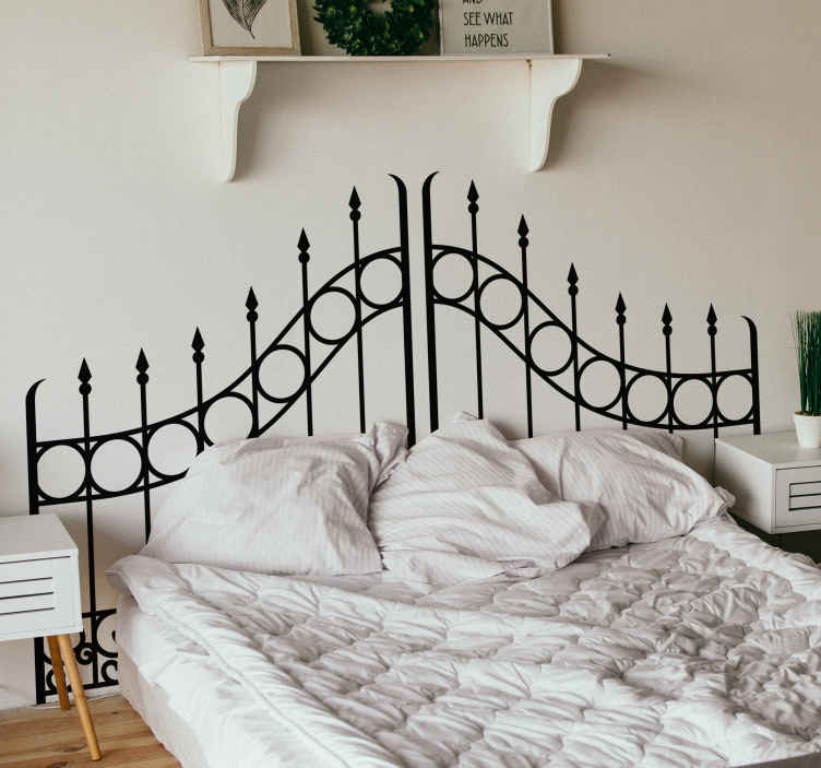 TenStickers. Fenced Gates Headboard Sticker. Decorate your bedroom with this fantastic fenced gate inspired headboard wall sticker, perfect for happy couples! Zero residue upon removal.