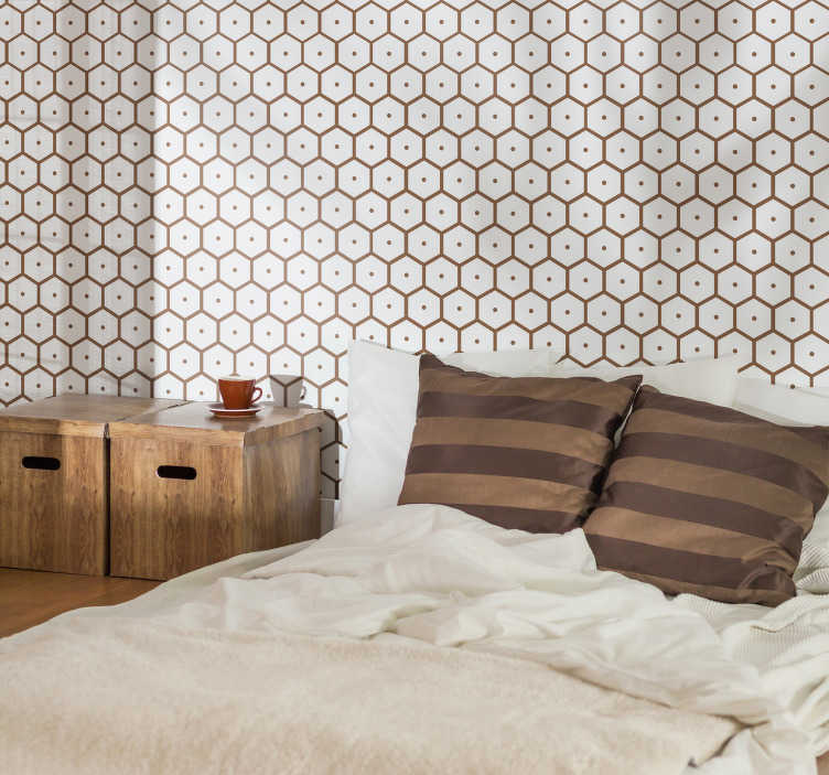 TenStickers. Geometric honeycomb bees headboard wall decal. Geometric honey comb bees headboard sticker . A design made of hexagonal prints in honey colour. Easy to apply and available in any size.