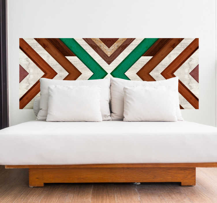TenStickers. Geometric headboard wall sticker. Geometric ornamental headboard decal for bedroom. A design made of colorful wood texture in geometric pattern. Easy to apply and adhesive.