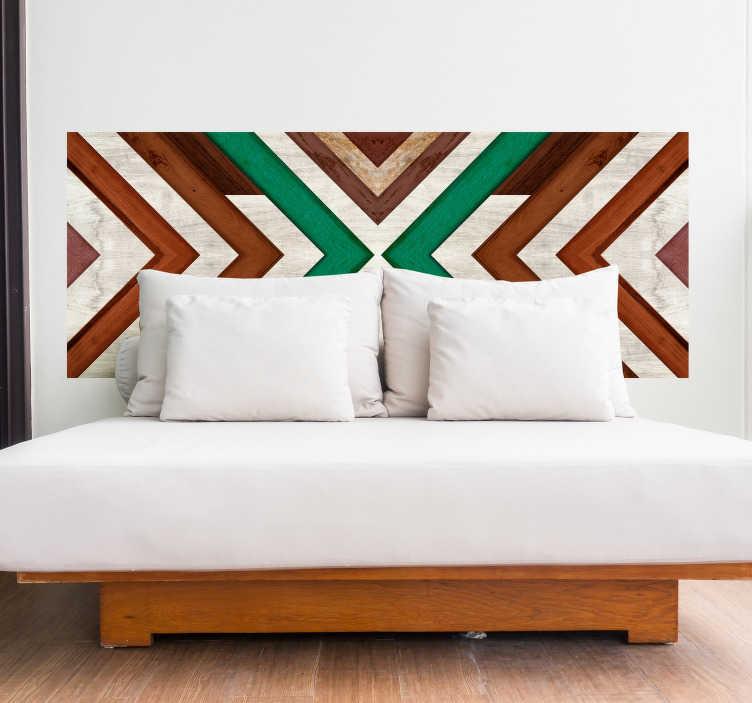 TenVinilo. Vinilo cabecero Geométrico. Lámina de vinilo para el cabecero de tu cama con un estilo muy étnico formado por una composición de triángulos. Vinilos Personalizados a medida.