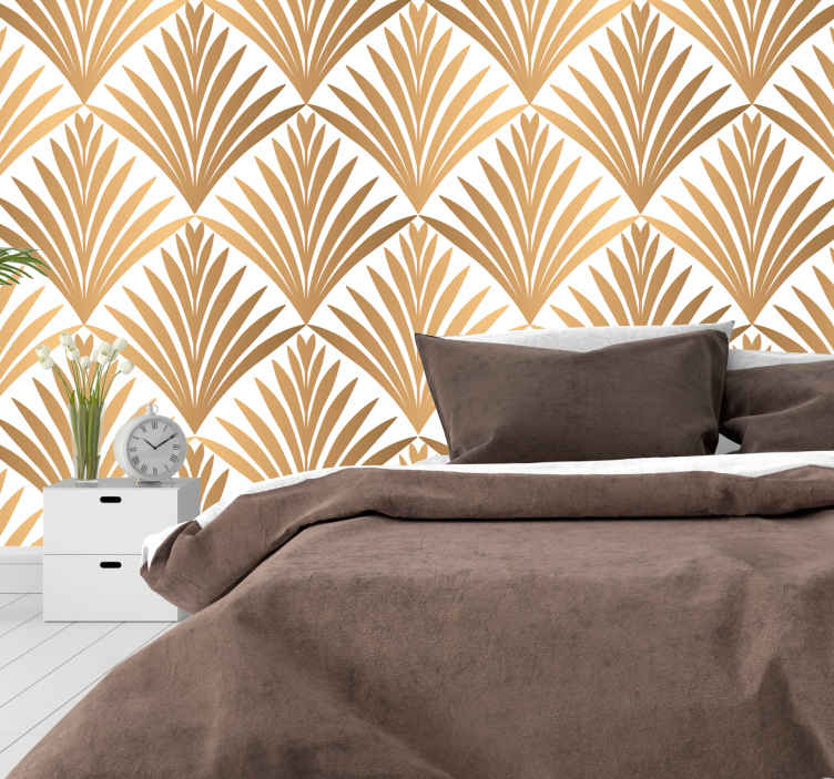 TenStickers. Geometric leaf headboard wall decal. Geometric leaves headboard sticker for bedroom. A leaf pattern in geometric golden background. Easy to apply, adhesive and available in any size.