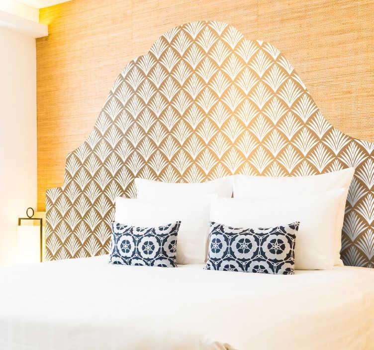 TenStickers. Muurstickers bed hoofdbord Gouden bladeren. Decoratieve gouden bladeren patroon hoofdeinde zelfklevende sticker voor slaapkamer. Eenvoudig aan te brengen, zelfklevend en verkrijgbaar in elke gewenste maat.