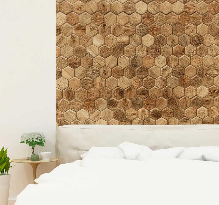 TenStickers. Sticker Maison Hexagones Bois. Rien de plus beau et plus simple que ce sticker mural chambre imitation bois. L'illusion de ce sticker pour mur est parfaite !