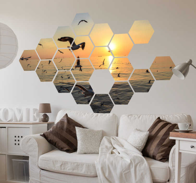 TenStickers. Geometric mosaic headboard wall decal. Decorative geometric mosaic wall sticker  that is customizable with any image of choice. Easy to apply and available in any required size.