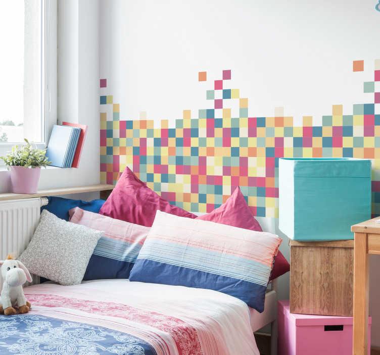 TenVinilo. Vinilo cabecero Mosaico geométrico cubos. Original cabecero de vinilo adhesivo formado por un colorida composición de pequeños cuadrados. Descuentos para nuevos usuarios.