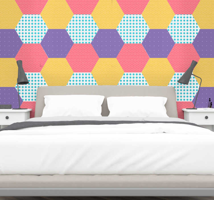 TenStickers. Geometric patchwork headboard wall decal. Geometric patchwork wall sticker for home decoration. It is designed with multiple hexagonal patterns with colorful backgrounds.