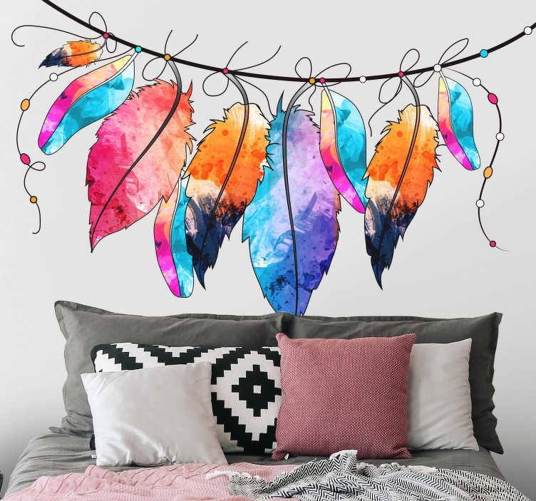 TenStickers. Sticker Maison Plumes Aquarellées. Les plumes au style aquarelle de ce sticker tête de lit donneront une atmoshère originale et chaleureuse à votre chambre ou celle de votre enfant.