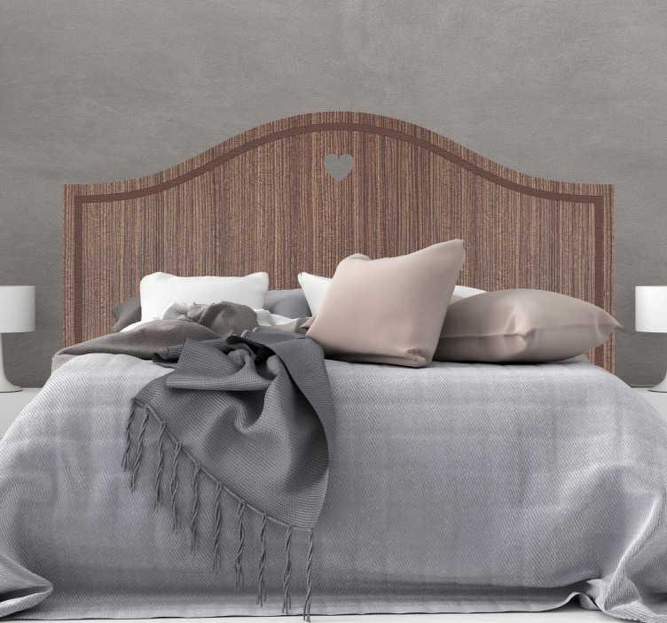 TenStickers. Naklejka tekstura drewnianej ramy nad łóżko. Naklejka na ścianę do sypialni nad łóżkiem, która imituje drewnianą ramę łóżka. Tani i łatwy sposób do ozdoby sypialni! Spersonalizuj swoją naklejkę!