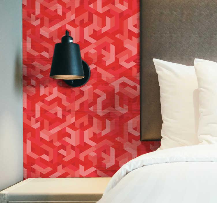 TENSTICKERS. 抽象的なサンゴビニールプリント壁ステッカー. 美しい色の抽象的な模様の形で作られた幾何学的なサンゴの壁紙ステッカー。適用が簡単で、必要なサイズで利用できます。