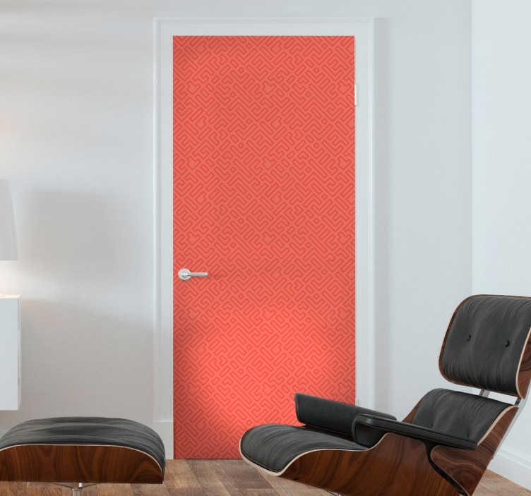 TenStickers. Sticker de Porte Porte Colorée. Un autocollant porte coloré accompagné de motifs géométriques qui ne laissera pas vos invités indifférents lorsqu'ils viendront visiter votre salon !