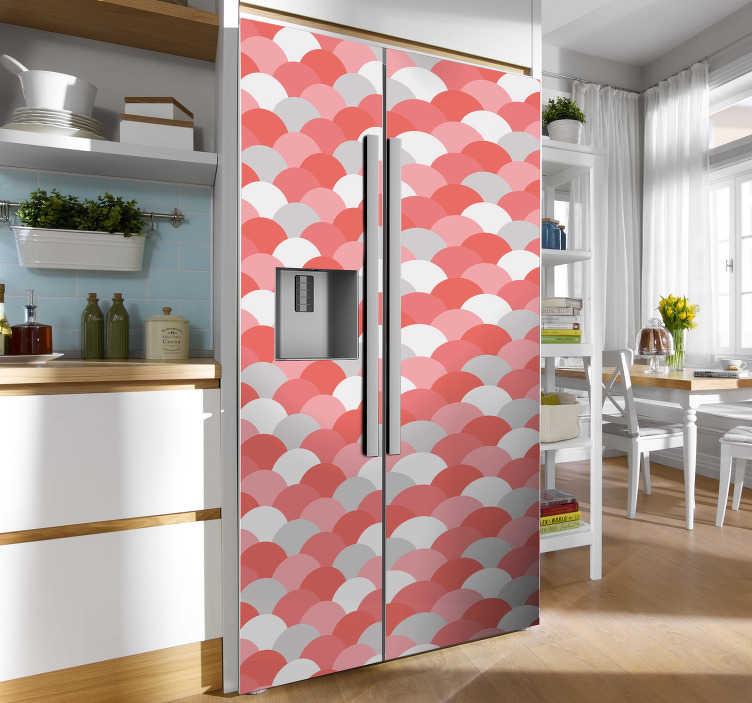 TenVinilo. Vinilo para refrigerador escamas coral rojas. Vinilo nevera de colores rosados con escamas de coral perfecto para renovar el aspecto de tu refrigerador. Elige las medidas ¡Envío a domicilio!