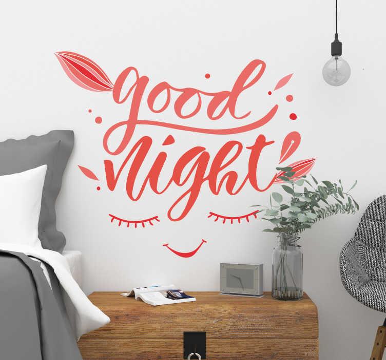 TenStickers. Sticker Maison Texte Good Night. Rien de tel pour souhaiter bonne nuit chaque soir qu'un sticker texte personnalisé pour une atmosphère reposante à votre chambre