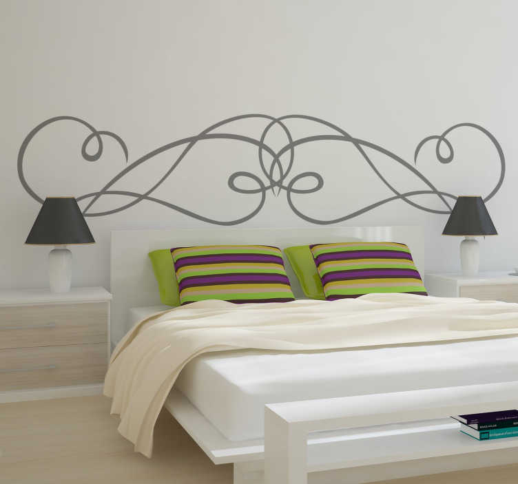 TenStickers. Symmetrical Wrought Iron Headboard Decal. An original sticker illustrating an abstract design for your headboard. You can now give your bedroom a more personalised touch of originality.