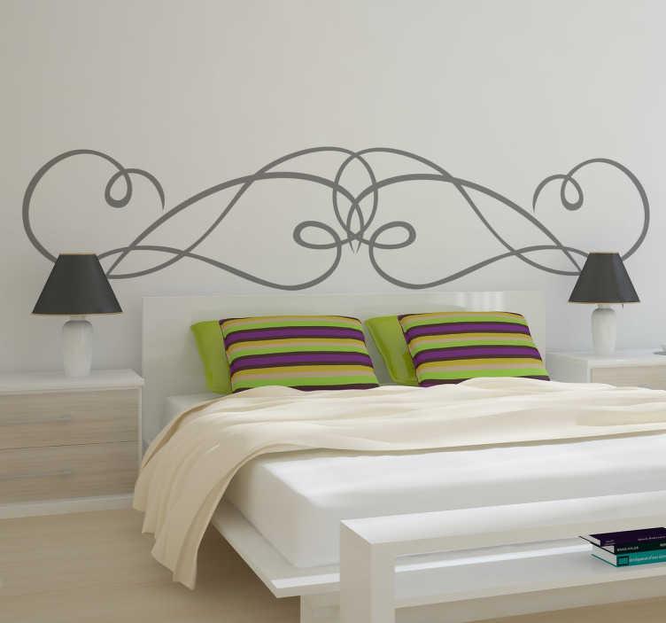TenStickers. Sticker tête de lit fer forgé. Adhésif mural traits arrondis entrelacés. Idéal pour décorer élégamment la tête du lit dans votre chambre.