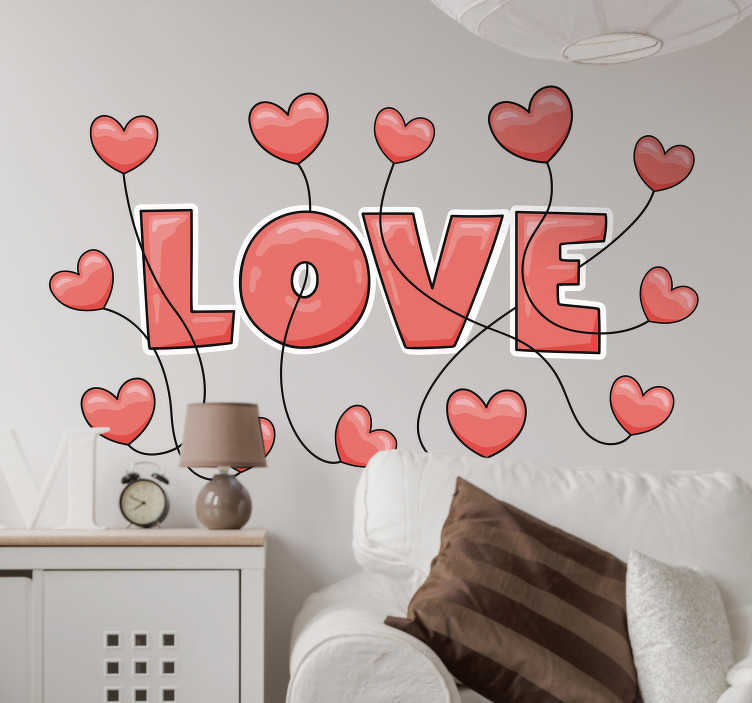 """TenStickers. Sticker citation Amour Love et Coeurs. Le mot """"Love"""" entouré de jolis petits coeurs sur ce sticker mural texte vous fera littéralement tomber amoureux de votre décoration d'intérieur !"""