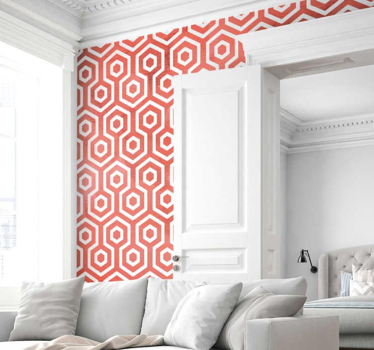 Tenstickers. Koralli geometrinen tekstuuri seinätarra. Geometrisen muodon seinä tarra, joka on tehty korallinvärisistä kuusikulmaisista muodoista. Mukava olohuoneen ja makuuhuoneen sisustus. Saatavana missä tahansa vaaditussa koossa.