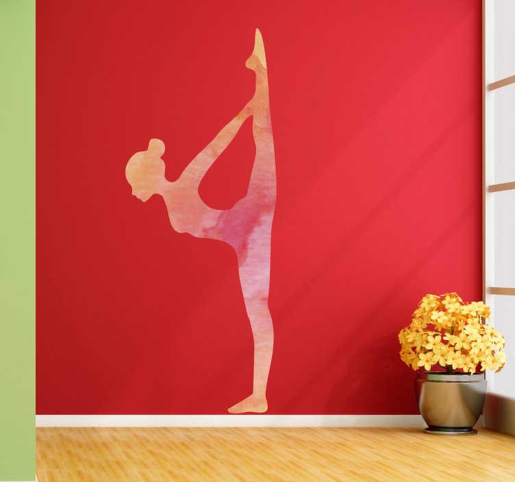 TenVinilo. Vinilo pared Bikram yoga. Vinilo con textura acuarela formado por la silueta de un chica practicando una de las posturas del Bikram Yoga. +10.000 Opiniones satisfactorias.