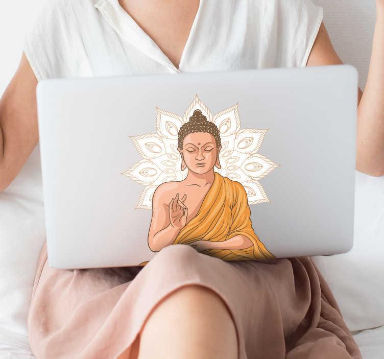TenVinilo. Vinilo original Buda yoga. Pegatina para portátil o tablet formada por la ilustración de un buda sobre el diseño de una mandala. Descuentos para nuevos usuarios.