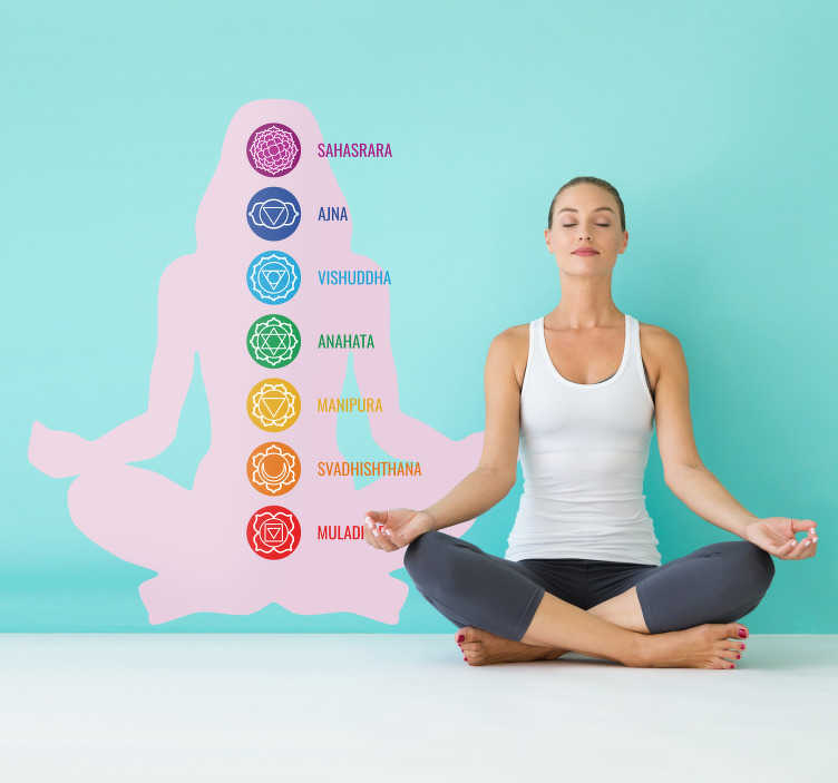 TenStickers. Chakras silhouette wall decal. Chakras sport wall sticker to decorate any flat surface of choice. Easy to apply, self adhesive and available in different sizes.