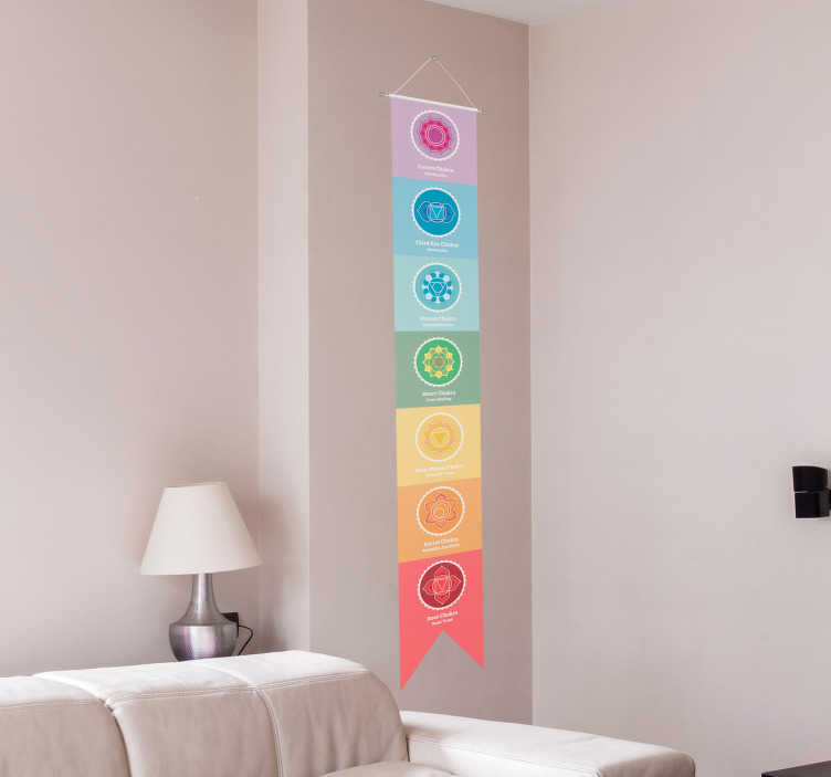 TenStickers. Chakra Symbol Chart Living Room Wall Decor. Know your root chakra from your third eye chakra with this beautiful chakra symbol chart wall sticker. Free worldwide delivery available!