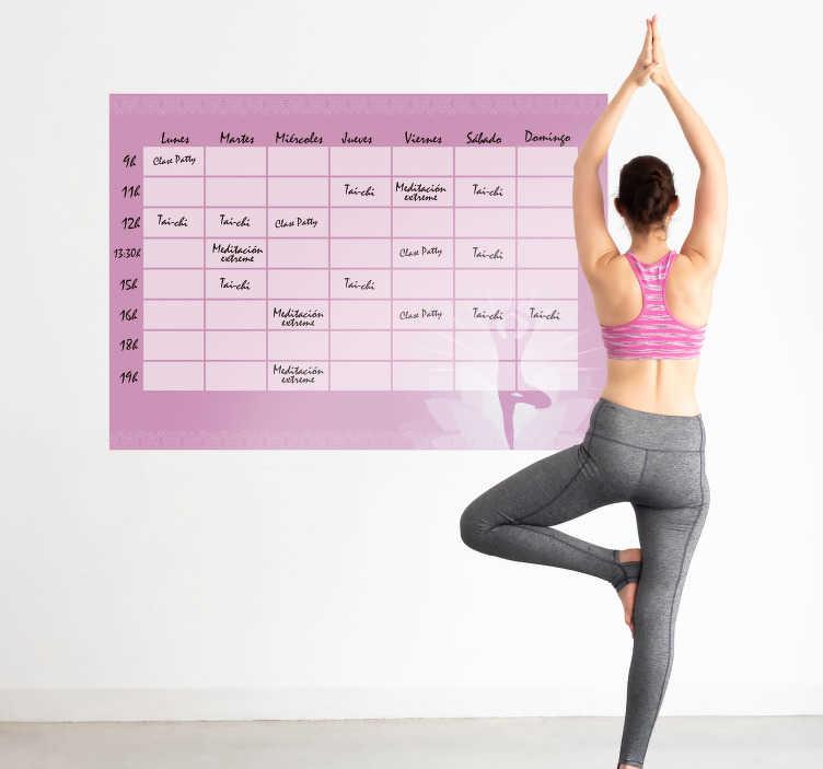 TenStickers. Sticker Ardoise Cours Yoga Horaires. Découvrez comment vous pouvez décorer votre maison avec notre sticker yoga pour vous faire votre propre planning pour la journée. Service Rapide.