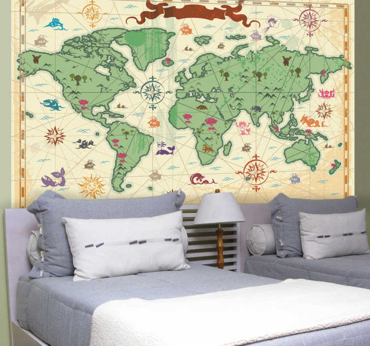 TenStickers. Treasure World Map Card Kids Sticker. Kids Stickers - A world map wall sticker with a treasure map theme. Great for decorating children's bedrooms, play rooms and nurseries. Educational wall sticker showing the continents of the world with awesome images in the oceans and on the land to make it more interesting.