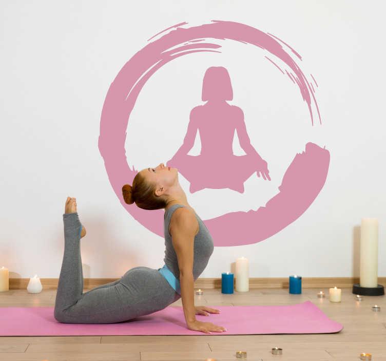TenStickers. Wandfolie Yoga Frau Schneidersitz Silhouette. Geben Sie Ihrem Zuhause mit diesem tollen Yoga Wandaufkleber einen ganz neuen aufregenden Touch, der beeindruckt! Blasenfreie Anbringung