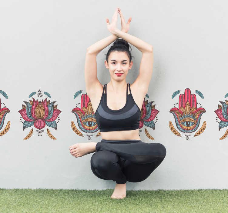 TenVinilo. Vinilo pared Hamsa mano yoga. Original cenefa adhesiva formada por los símbolos del hamsa o Mano de Fátima y de la flor de loto. Atención al Cliente Personalizada.