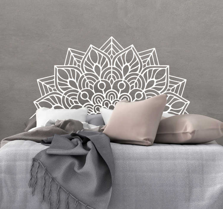 TenStickers. Mandala yoga headboard wall sticker. An ornamental headboard wall decal with the design of mandala pattern . Available in different colours option and sizes.