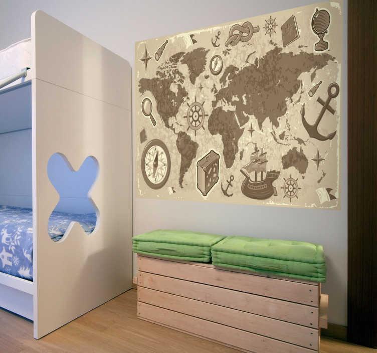 TenStickers. Naklejka dziecięca mapa podróże. Naklejka dekoracyjna dla dzieci, która przedstawia mapę świata, ozdobioną elementami związanymi z podróżą.