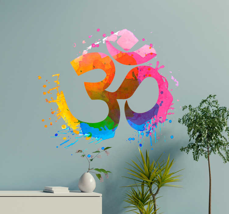 TenStickers. Om yoga wall decor. Om yoga wall vinyl sticker for home and office decoration. It is designed in an abstract multi colour painting style. Easy to apply and adhesive.