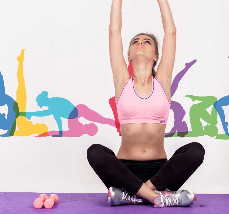 TenStickers. Wandfolie Yoga Übungen Silhouetten Bordüre. Eine tolle Möglichkeit, um Ihrem Zuhause und Ihnen selbst zu Schwung und Leben zu verhelfen, ist dieser einzigartige Yoga Sticker. Mehr als 50 Farben