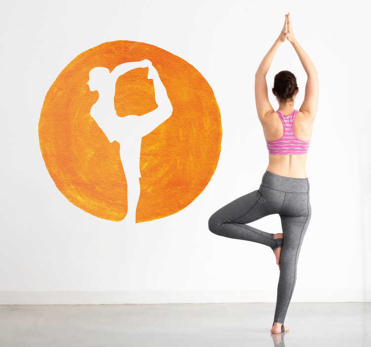 TenStickers. Yoga Posture Silhouette Sticker. Add a colourful wall art sticker to your home with this fantastic design, paying tribute to a yoga pose! +10,000 satisfied customers.