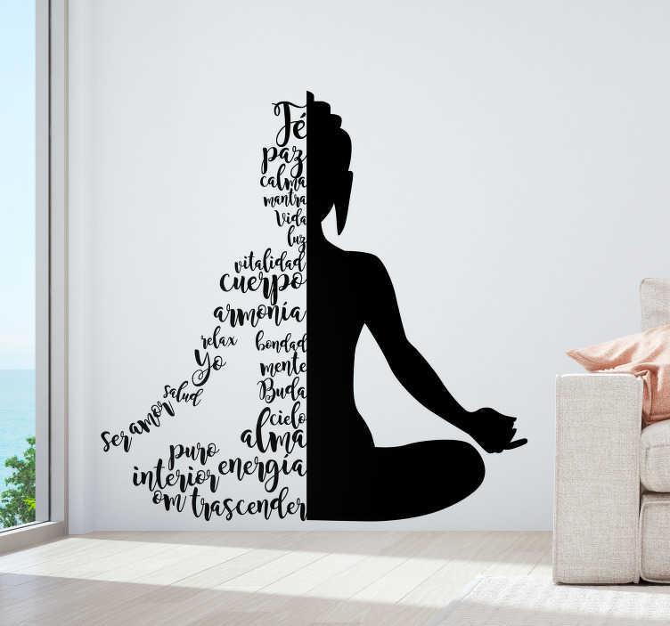 """TenVinilo. Vinilo original Silueta yoga texto. Silueta adhesiva de una persona en la posición """"flor de loto"""", la mitad de la cual está creada a partir de palabras. Envío Express en 24/48h."""