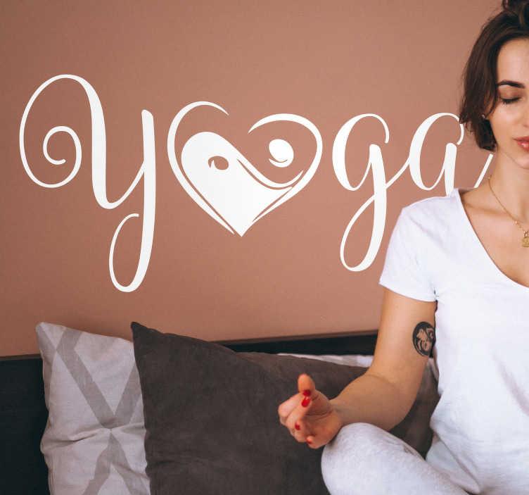 """TenVinilo. Vinilo frase Yin yang yoga. Pegatina para pared formada por la palabra """"yoga"""", en la cual la letra """"o"""" se representa a partir del símbolo ying-yang. Precios imbatibles."""