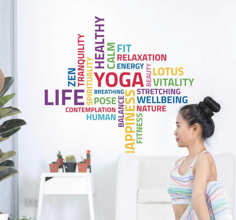 TenStickers. Sticker Sport Yoga Concept. Découvrez comment vous pouvez vous permettre de décorer une des pièces de votre maison comme vous le souhaitez avec un sticker yoga. Livraison Rapide.
