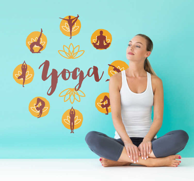 TenStickers. Yoga Poses Wall Art Sticker. If you love yoga, then this wall art sticker, depicting a variety of different poses, might just be perfect! Zero residue upon removal.