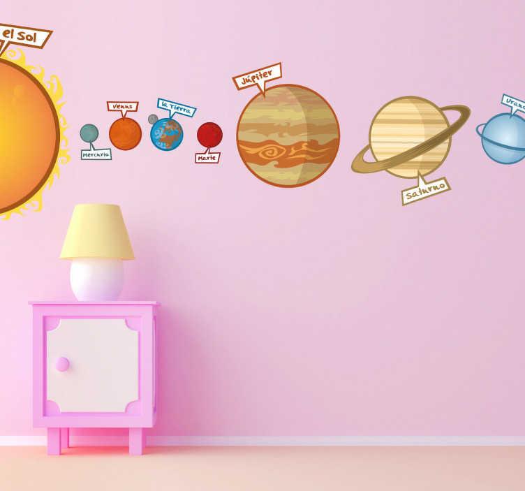 TenVinilo. Vinilo infantil sistema solar color. ¿Tu hijo sueña con ser astronauta? Haz su sueño realidad decorando la pared de su habitación con este educativo Adhesivo infantil de nuestro sistema planetario.