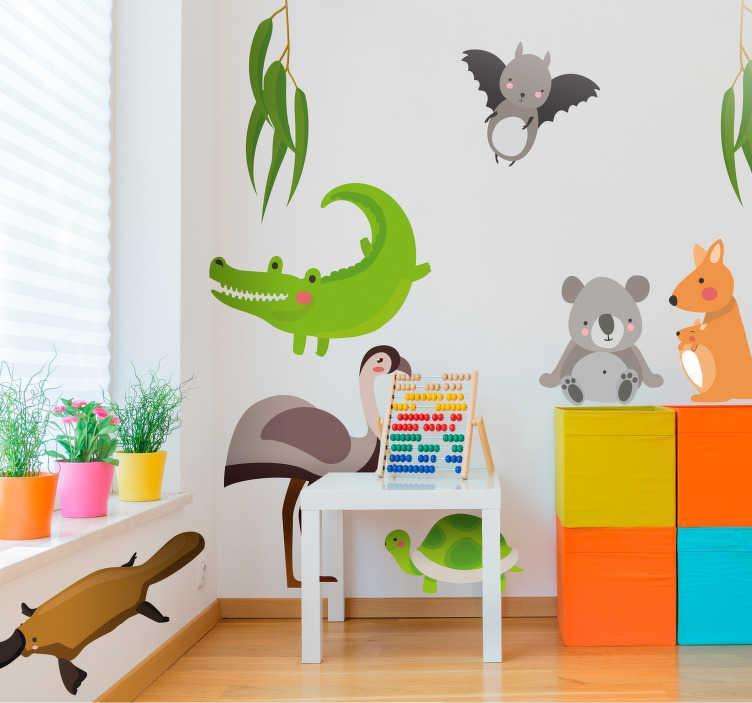 TenStickers. Sticker Chambre Enfant Animaux d'Australie. Découvrez comment décorer une des chambre de vos enfants avec ce tout nouveau sticker animaux sauvages rien que pour vous. Prix Imbattables.