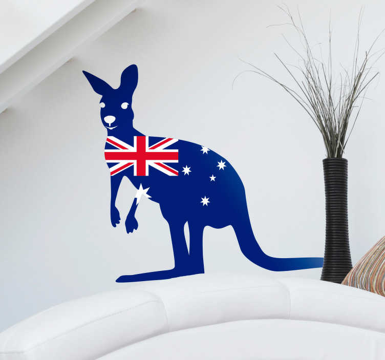 TenStickers. Kangaroo with Flag Sticker. Pay tribute to the magic of the Australian country with this fantastic national themed animal flag sticker! Stickers from A$3.95.