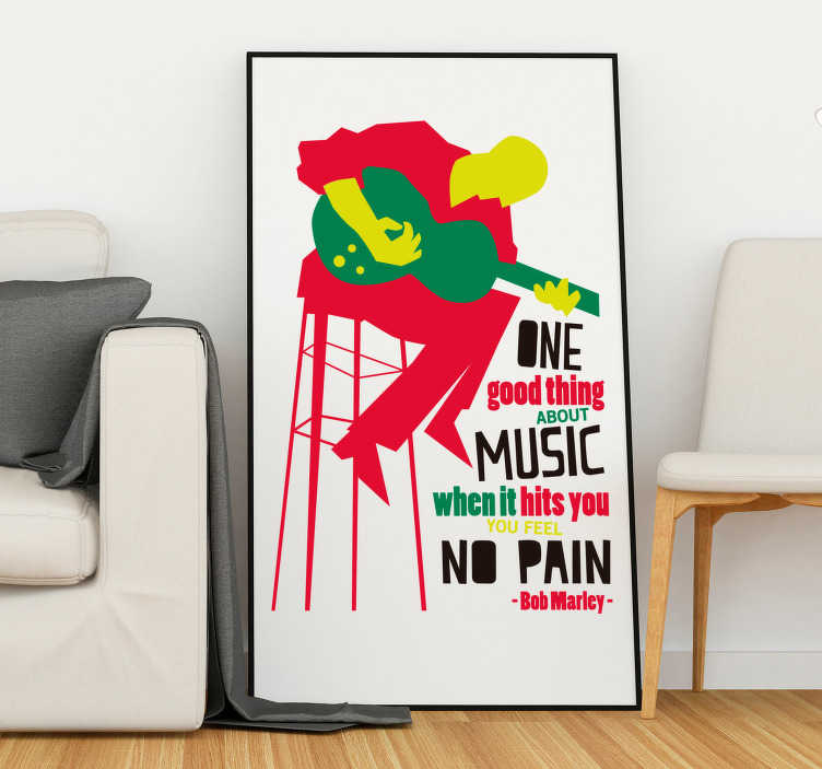 TenStickers. Bob Marley Music Wall Quote Sticker. Pay tribute to the magic of music with this fantastic wall quote sticker, courtesy of the legendary Bob Marley! Choose your size.