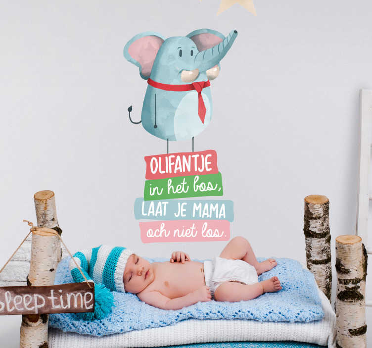 TenStickers. 숲에서 코끼리 노래 nl 보육 동요 벽 데칼. 숲에서 코끼리 노래 nl 보육 동요 벽 데칼 아기의 방을 장식합니다. 적용하기 쉽고 접착력이 있으며 원하는 크기로 제공됩니다.