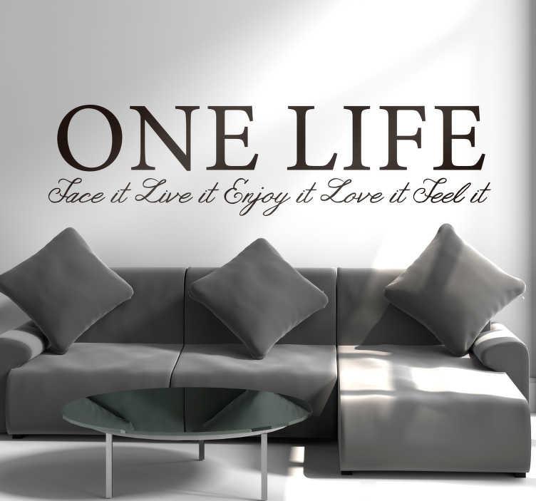 """TenStickers. Slaapkamer muursticker one life. """"One life Fact it Live it Enjoy it Love it Feel it"""" Breng deze boodschap over door de tekst sticker in uw woning aan te brengen."""