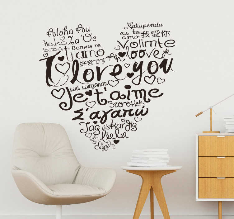 TenStickers. I Love You Languages Wall Sticker. Tell those beautiful, timeless words in over 20 ways with this elegant I love you languages wall sticker. Choose from over 50 colours!