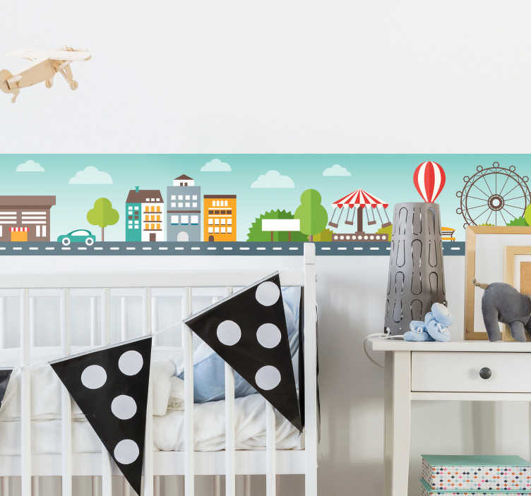 TenStickers. children's city border border decal. Beautiful illustrative children bedroom border sticker with the design of city and recreation. Available in any required size.