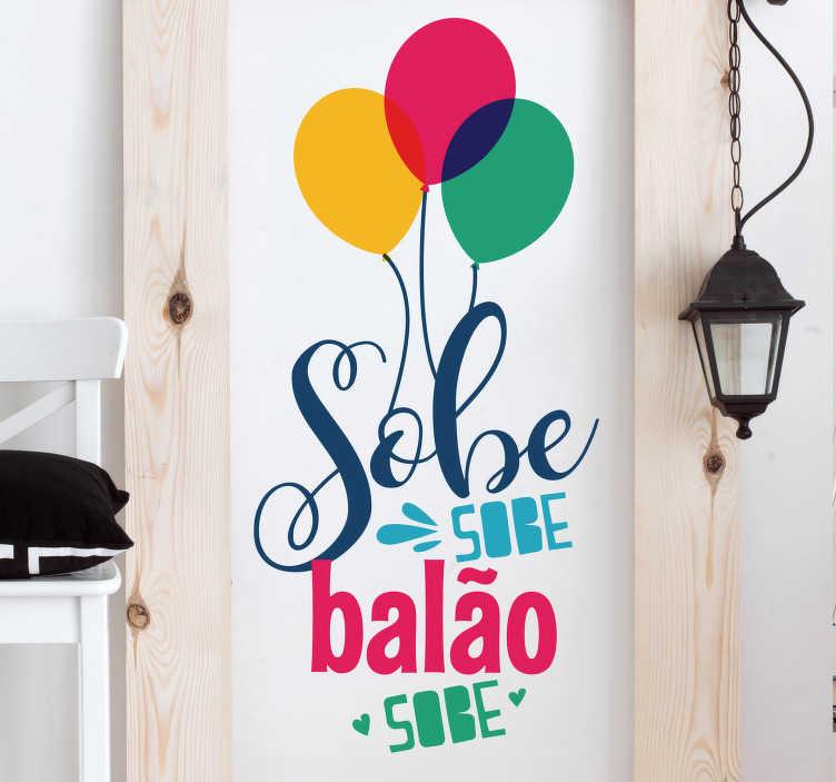 TenStickers. Autocolantes decorativos de canções infantis sobe balão sobe. Autocolante decorativo para dar um toque mais moderno e personalizado à sua vida e pertences.  Vinis resistentes e duradouros.