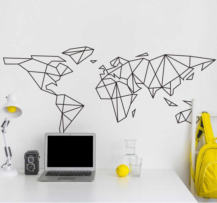 TenVinilo. Vinilo mapamundi minimalista. Vinilo adhesivo formado por el diseño del mapa del mundo creado a partir de líneas rectas y formas geométricas. Fácil aplicación y sin burbujas.