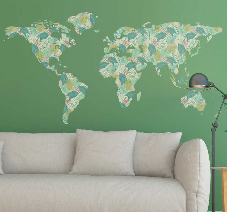 TenStickers. Tropical World Map Wall Sticker. If you are looking for some world map themed decor, then why not take a look at this tropical world map wall sticker! +10,000 satisfied customers.